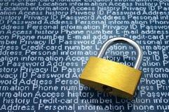 安全概念:个人信息的保护 免版税库存图片