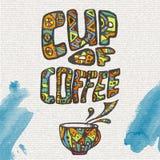 Декоративный эскиз чашки кофе Стоковое фото RF
