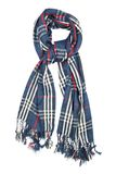 围巾是羊毛的在与红色和白色细丝和边缘的一只蓝色笼子,被隔绝在白色背景 库存图片