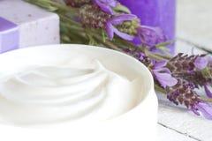 淡紫色化妆用品温泉身体关心摘要构成 库存图片