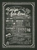 爱黑板婚礼邀请卡片的食谱 免版税库存图片