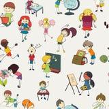 学校孩子乱画无缝的样式 免版税库存照片