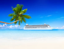 Тропический рай с туристическим судном и пальмой Стоковое фото RF