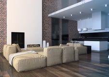 Современный интерьер живущей комнаты просторной квартиры Стоковое Фото