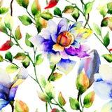 与夏天蓝色花的无缝的墙纸 图库摄影