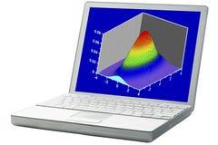 在膝上型计算机的科学图表 库存照片