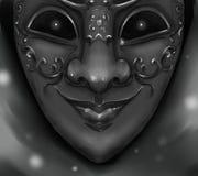 丑角与发光凶眼的狂欢节面具 免版税库存照片