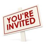 您关于被邀请的白色横幅 免版税库存照片
