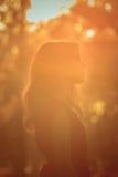 一个美丽的性感的时尚女孩的画象一件红色礼服的在公园的本质 免版税库存图片