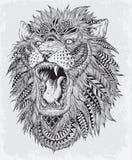 Нарисованная рукой абстрактная иллюстрация вектора льва Стоковое Изображение
