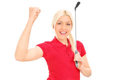 Женский игрок в гольф празднуя победу Стоковые Изображения RF