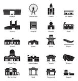 Комплект значка города здания Стоковая Фотография RF