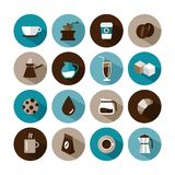 Στρογγυλά εικονίδια σχεδίου καφέ Στοκ φωτογραφίες με δικαίωμα ελεύθερης χρήσης