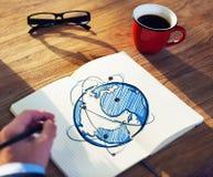 有笔记本和全球网络概念的人 库存照片
