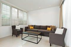 Φωτεινό καθιστικό με τον γκρίζο καναπέ Στοκ φωτογραφία με δικαίωμα ελεύθερης χρήσης