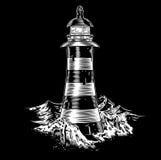 灯塔在与风大浪急的海面的晚上 库存图片