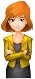穿燃烧物的一名俏丽的女实业家 免版税库存图片