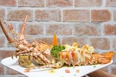 龙虾烘烤用晚餐的乳酪 免版税图库摄影