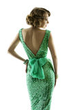 Αναδρομικό φόρεμα τσεκιών σπινθηρίσματος μόδας γυναικών, κομψό εκλεκτής ποιότητας ύφος Στοκ Εικόνα