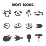 Εικονίδια κρέατος Στοκ Εικόνες