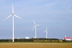 库福尔登,风车,火车,工厂地平线  免版税库存照片