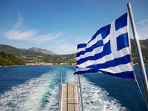 希腊旗子游轮 库存照片