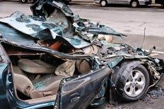 汽车汽车极大冲突的失败有高速公路被冰的速度 免版税图库摄影