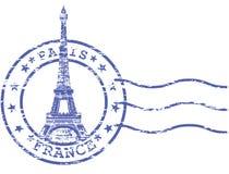 与埃佛尔铁塔的破旧的邮票 免版税库存图片