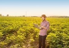 有便携式计算机的愉快的农夫在领域前面 库存照片