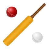 Иллюстрация вектора с крикетной битой и красные, Стоковое Изображение