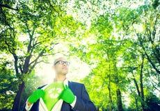 在超级英雄题材的环境保护商人 库存照片