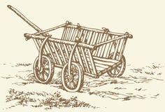 得出花卉草向量的背景 古体木空的推车 库存图片
