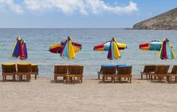 在拔摩岛海岛的海滩在希腊 免版税库存照片