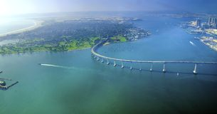 科罗纳多海岛,圣地亚哥鸟瞰图  免版税库存照片