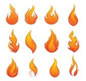 иллюстрации иконы пожара предпосылки белизна вектора черной установленная Стоковые Изображения