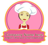 Λογότυπο γυναικών αρχιμαγείρων με το έμβλημα Στοκ Φωτογραφίες