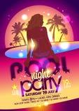 Плакат вечеринки у бассейна ночи Стоковая Фотография RF