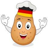 土豆与德国帽子的厨师字符 免版税库存照片
