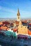 台阶的塔和锡比乌老镇,罗马尼亚 库存图片