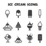 大奶油色冰图标设置了十二向量 库存图片