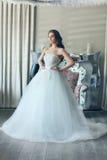 薄纱一套壮观的白色婚礼礼服的美丽的新娘有束腰的 库存照片