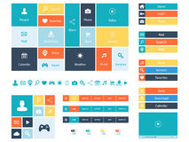 Плоские элементы веб-дизайна, кнопки, значки Шаблоны для вебсайта Стоковые Фотографии RF