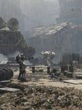 未来城市战场 库存图片