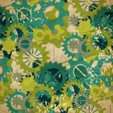 淡色绿色齿轮的无缝的抽象样式在葡萄酒样式的 免版税库存图片
