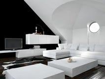 现代黑白顶楼客厅内部 免版税库存照片