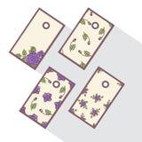Комплект бирок с абстрактными розами Стоковые Изображения
