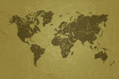 在空白的难看的东西纸纹理的世界地图 免版税库存照片