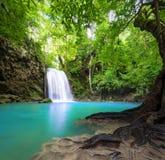 瀑布风景背景 美好的本质 免版税库存照片