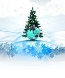 Κάρτα χειμερινών τοπίων με το χριστουγεννιάτικο δέντρο και την ασιατική σφαίρα Στοκ Εικόνα