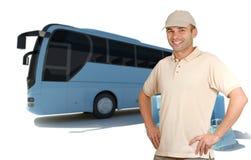 微笑的人乘教练公共汽车 免版税库存图片